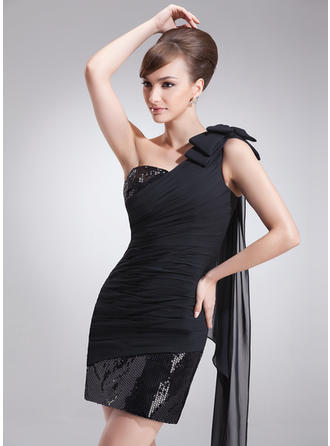 Sheath/Column One-Shoulder Short/Mini Chiffon Sequined Cocktail Dresses With Ruffle Bow(s)