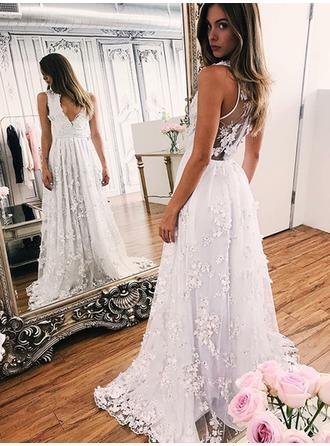 Deep V Neck A-Line/Princess Wedding Dresses Tulle Appliques Lace Sleeveless Sweep Train