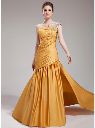 Trumpet/Mermaid One-Shoulder Court Train Evening Dresses With Ruffle Beading Split Front
