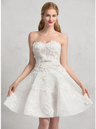 A-Line/Princess Sweetheart Knee-Length Wedding Dresses With Beading Sequins
