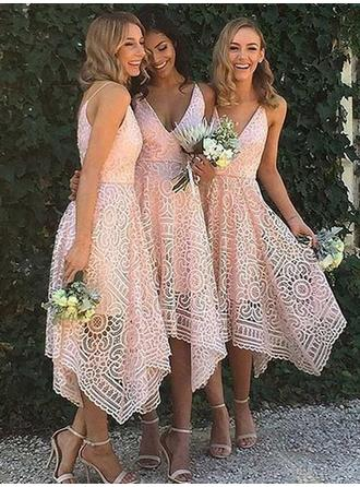 A-Line/Princess Lace Bridesmaid Dresses V-neck Sleeveless Asymmetrical