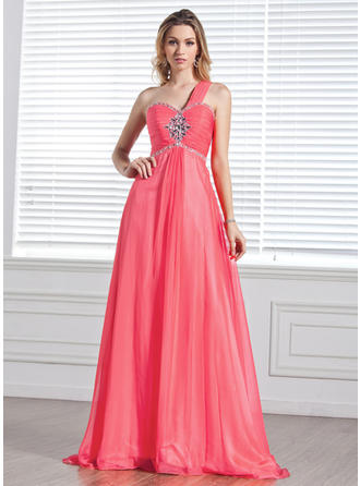 A-Line/Princess Sweep Train Prom Dresses One-Shoulder Chiffon Sleeveless