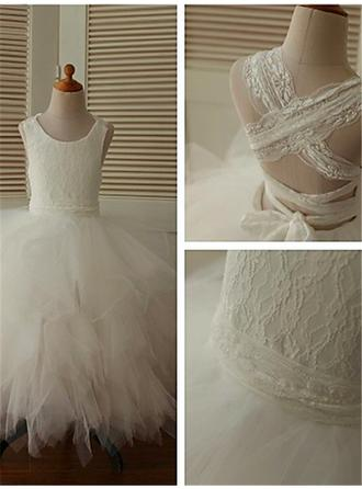 Ball Gown Scoop Neck Ankle-length With Lace Tulle Flower Girl Dresses
