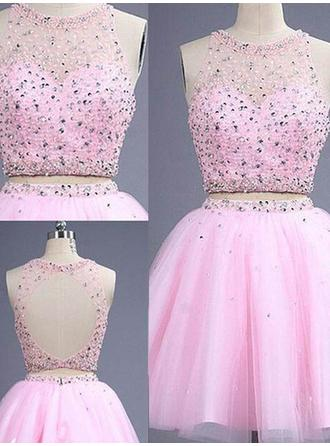 A-Line/Princess Scoop Neck Short/Mini Detachable Prom Dresses With Beading