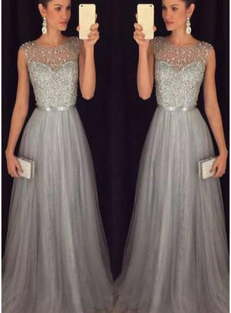 A-Line/Princess Scoop Neck Sweep Train Prom Dresses With Sash Beading