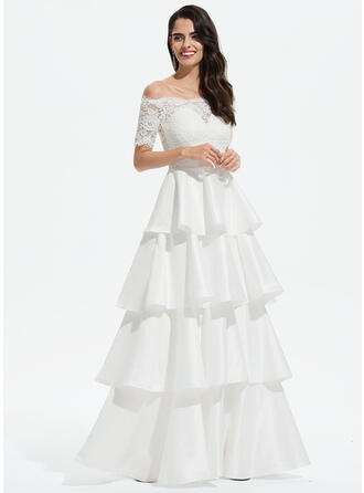 Ball-Gown/Princess Off-the-Shoulder Floor-Length Satin Prom Dresses With Lace