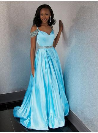 A-Line/Princess Sweetheart Sweep Train Evening Dresses With Beading