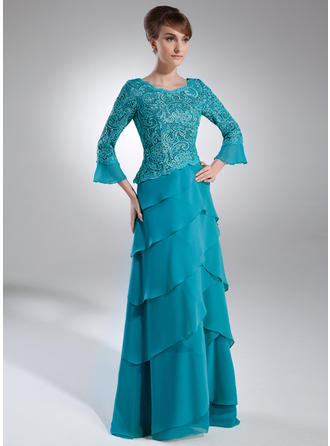 A-Line/Princess Chiffon Lace 3/4 Sleeves Scoop Neck Sweep Train Zipper Up Mother of the Bride Dresses
