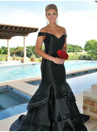 Trumpet/Mermaid Taffeta Prom Dresses Cascading Ruffles Off-the-Shoulder Sleeveless Sweep Train