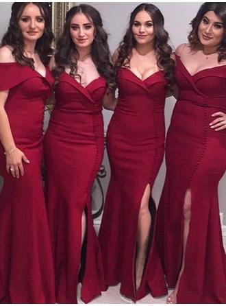 Trumpet/Mermaid Off-the-Shoulder Floor-Length Satin Bridesmaid Dresses With Ruffle Split Front