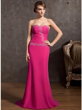 A-Line/Princess Sweetheart Sweep Train Evening Dresses With Ruffle Beading Appliques Lace