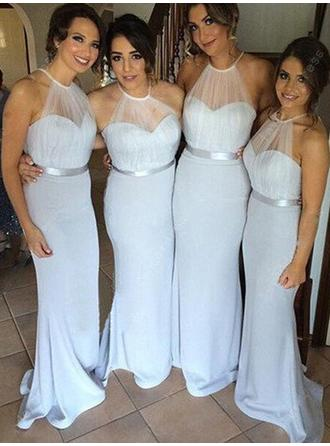 Trumpet/Mermaid Tulle Jersey Bridesmaid Dresses Ruffle Scoop Neck Sleeveless Sweep Train