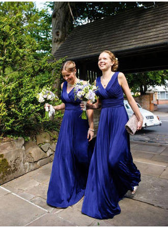 A-Line/Princess Satin Chiffon Bridesmaid Dresses Ruffle V-neck Sleeveless Floor-Length