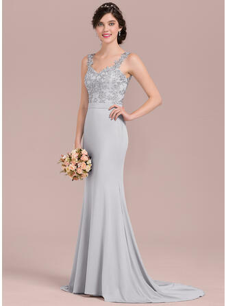 Trumpet/Mermaid Sweetheart Sweep Train Lace Jersey Evening Dress With Beading Sequins