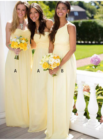 A-Line/Princess Sweetheart One-Shoulder Floor-Length Bridesmaid Dresses With Ruffle