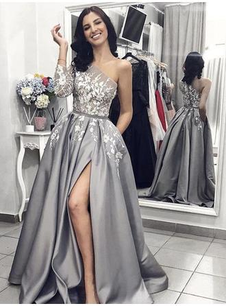 A-Line/Princess One-Shoulder Sweep Train Prom Dresses With Appliques Lace Split Front