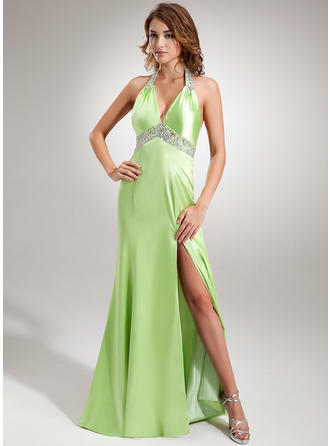 Trumpet/Mermaid Halter Sweep Train Evening Dresses With Ruffle Beading Sequins Split Front