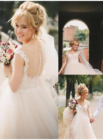 A-Line/Princess Tulle Sleeveless Off-The-Shoulder Court Train Wedding Dresses