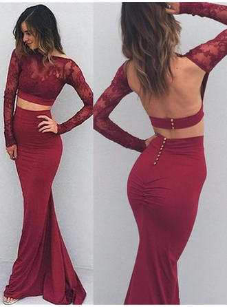 Trumpet/Mermaid Jersey Prom Dresses Appliques Lace Long Sleeves Floor-Length