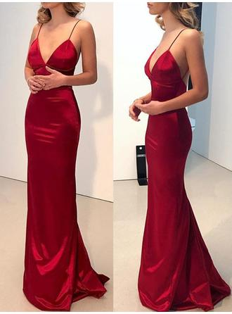 Sheath/Column V-neck Floor-Length Prom Dresses