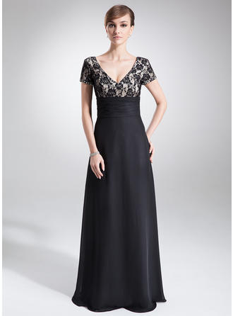 A-Line/Princess Chiffon Lace Short Sleeves V-neck Floor-Length Zipper Up Mother of the Bride Dresses