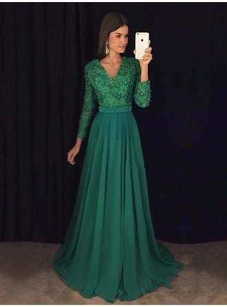 A-Line/Princess Chiffon Prom Dresses Lace Beading Sequins V-neck Long Sleeves Sweep Train