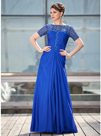 A-Line/Princess Chiffon Lace Short Sleeves Scoop Neck Floor-Length Zipper Up Mother of the Bride Dresses