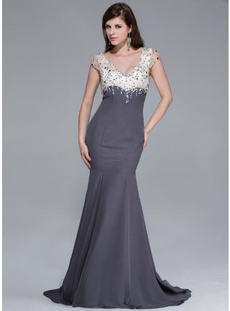 Trumpet/Mermaid V-neck Sweep Train Prom Dresses With Beading Split Front
