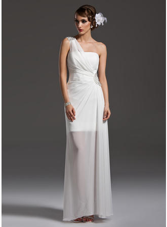 Sheath/Column Floor-Length Prom Dresses One-Shoulder Chiffon Sleeveless