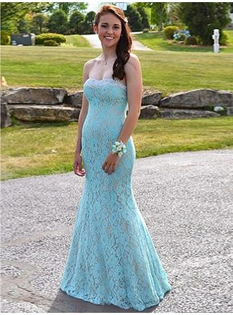 Trumpet/Mermaid Sweetheart Floor-Length Prom Dresses With Beading