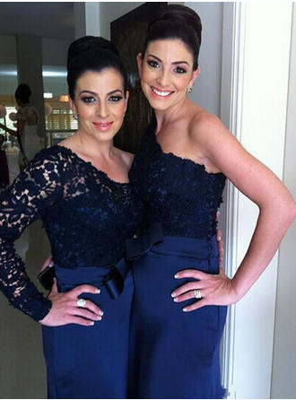 Trumpet/Mermaid Satin Lace Bridesmaid Dresses Bow(s) One-Shoulder Long Sleeves Sweep Train