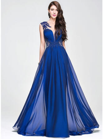 A-Line/Princess Scoop Neck Sweep Train Chiffon Prom Dresses With Ruffle Beading Appliques Lace Sequins