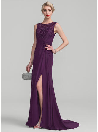 A-Line/Princess Scoop Neck Sweep Train Chiffon Lace Mother of the Bride Dress With Ruffle Beading Sequins Split Front
