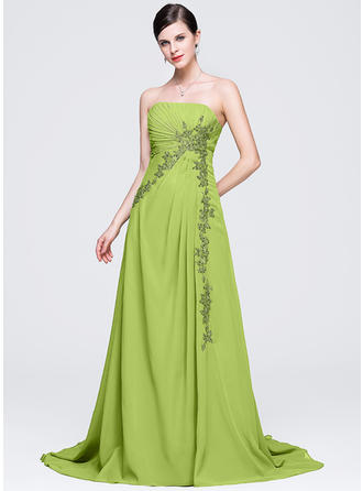 A-Line/Princess Strapless Chapel Train Evening Dresses With Ruffle Appliques Lace