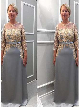 A-Line/Princess Chiffon 3/4 Sleeves Scoop Neck Floor-Length Zipper Up Mother of the Bride Dresses