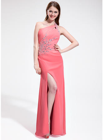 Sheath/Column Chiffon Prom Dresses Ruffle Beading Split Front One-Shoulder Sleeveless Floor-Length