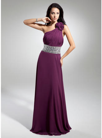 A-Line/Princess One-Shoulder Floor-Length Evening Dresses With Ruffle Beading Flower(s)
