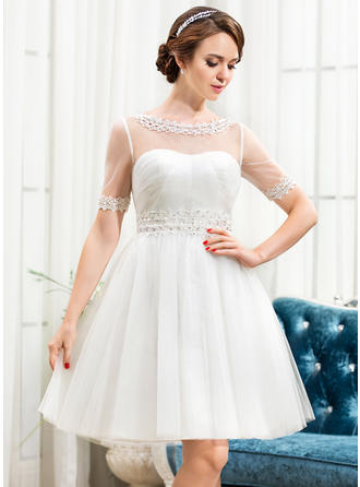 Newest Scoop A-Line/Princess Wedding Dresses Knee-Length Tulle Short Sleeves