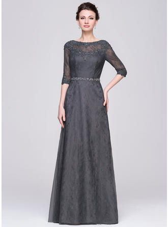 A-Line/Princess Tulle Lace 1/2 Sleeves Scoop Neck Floor-Length Zipper Up Mother of the Bride Dresses