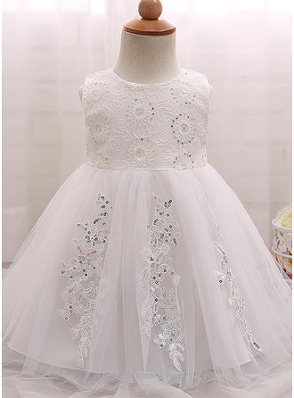 A-Line/Princess Scoop Neck Floor-length Tulle Sequined Christening Gowns