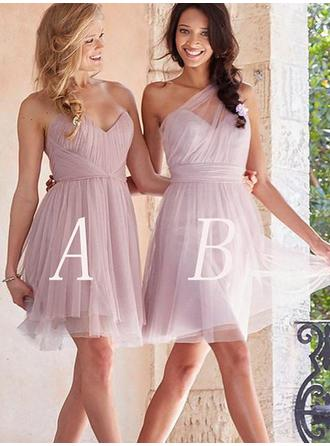 A-Line/Princess Sweetheart Short/Mini Bridesmaid Dresses With Ruffle