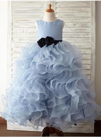 Fashion Scoop Neck A-Line/Princess Flower Girl Dresses Floor-length Organza/Satin Sleeveless