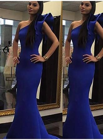 Trumpet/Mermaid Satin Prom Dresses Flower(s) One-Shoulder Sleeveless Sweep Train
