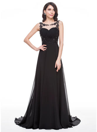 A-Line/Princess Chiffon Prom Dresses Ruffle Beading Appliques Lace Sequins Scoop Neck Sleeveless Court Train