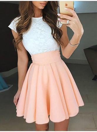 A-Line/Princess Scoop Neck Short/Mini Chiffon Homecoming Dresses With Ruffle