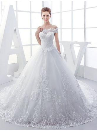 Ball-Gown Tulle Sleeveless Off-The-Shoulder Royal Train Wedding Dresses