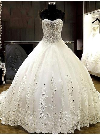 Ball-Gown Sweetheart Chapel Train Wedding Dresses With Beading Appliques Lace