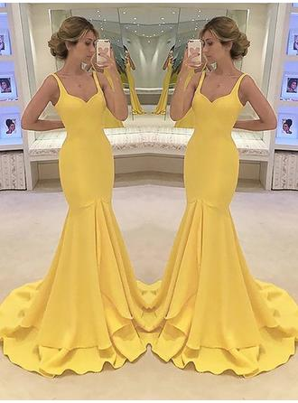 Trumpet/Mermaid Sweetheart Sweep Train Prom Dresses With Cascading Ruffles