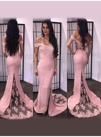Trumpet/Mermaid Satin Prom Dresses Appliques Lace Split Front Off-the-Shoulder Sleeveless Sweep Train