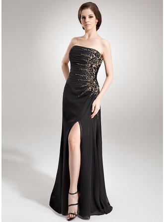 A-Line/Princess Strapless Floor-Length Evening Dresses With Ruffle Beading Sequins Split Front